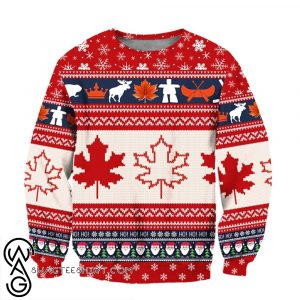 Christmas canada maple leaf full printing ugly christmas sweater