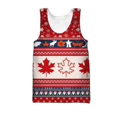 Christmas canada maple leaf full printing ugly christmas tank top