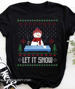Christmas let it snow snowman doing cocaine ugly holidays shirt