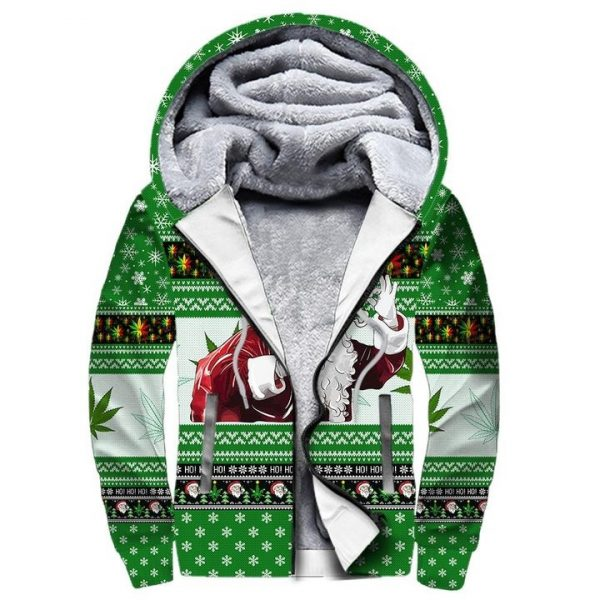 Christmas santa marijuana full printing ugly christmas Fleece Hoodie