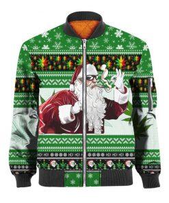 Christmas santa marijuana full printing ugly christmas bomber