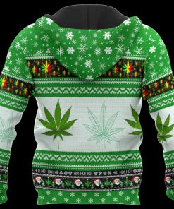 Christmas santa marijuana full printing ugly christmas hoodie - back