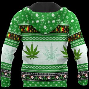 Christmas santa marijuana full printing ugly christmas hoodie - back