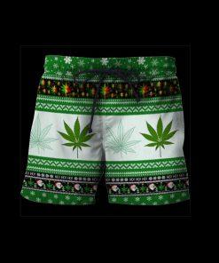 Christmas santa marijuana full printing ugly christmas shorts