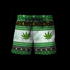 Christmas santa marijuana full printing ugly christmas shorts