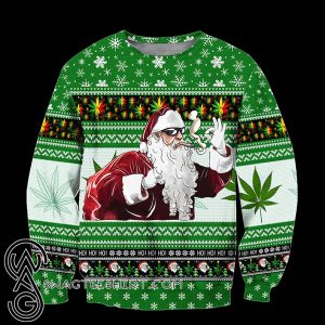 Christmas santa marijuana full printing ugly christmas sweater