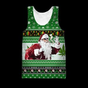 Christmas santa marijuana full printing ugly christmas tank top