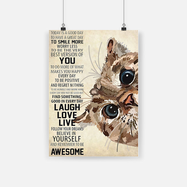 Cute cat today is a good day to have a great day poster 3