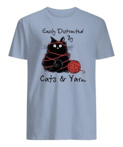 Easily distracted by cats and yarn mens shirt
