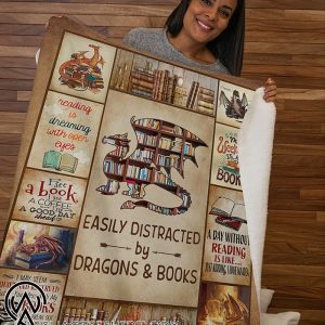 Easily distracted by dragons and books fleece blanket