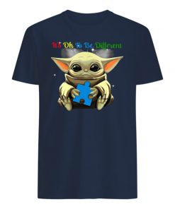 It's ok to be different autism awareness baby yoda mens shirt