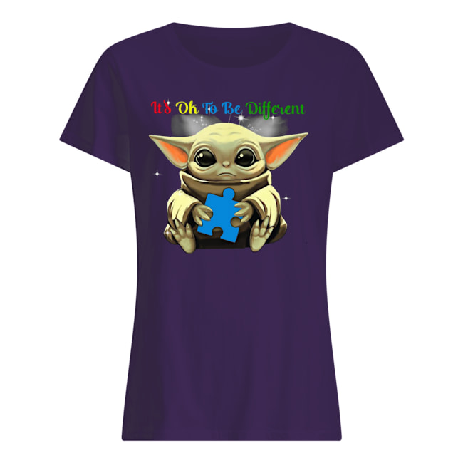 It's ok to be different autism awareness baby yoda womens shirt