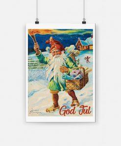 Norway god jul nisse 1947 vintage christmas poster 1