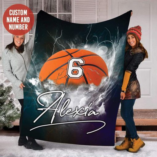 Personalized nba basketball thunder name and number blanket 1
