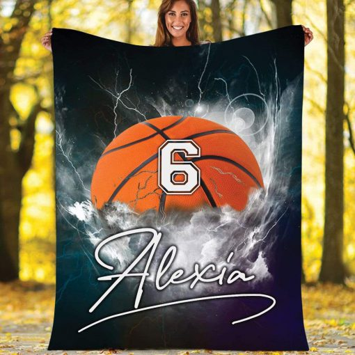 Personalized nba basketball thunder name and number blanket 2