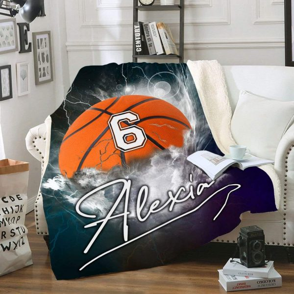 Personalized nba basketball thunder name and number blanket 3