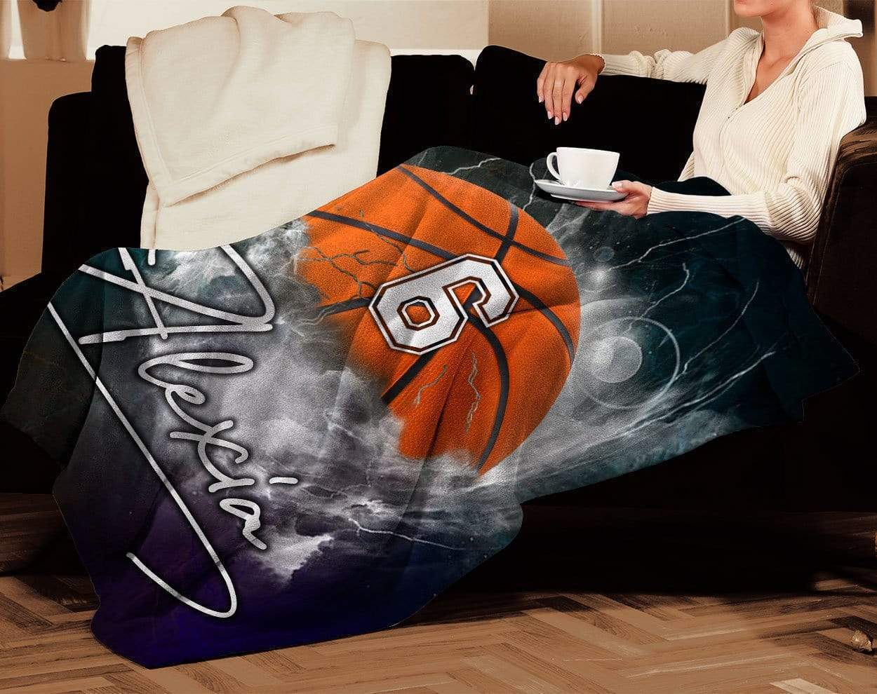 Personalized nba basketball thunder name and number blanket 4