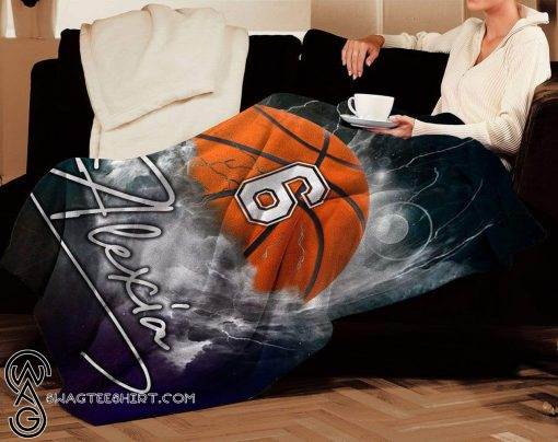 Personalized nba basketball thunder name and number blanket