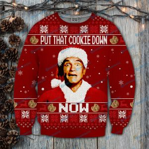 Put that cookie down now kindergarten cop full printing ugly christmas sweater 4