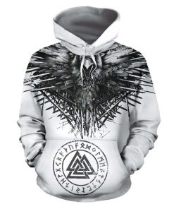 Raven and eagle viking all over printed hoodie 2
