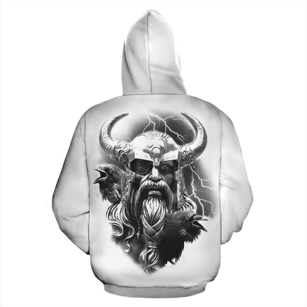 Raven and eagle viking all over printed hoodie - back