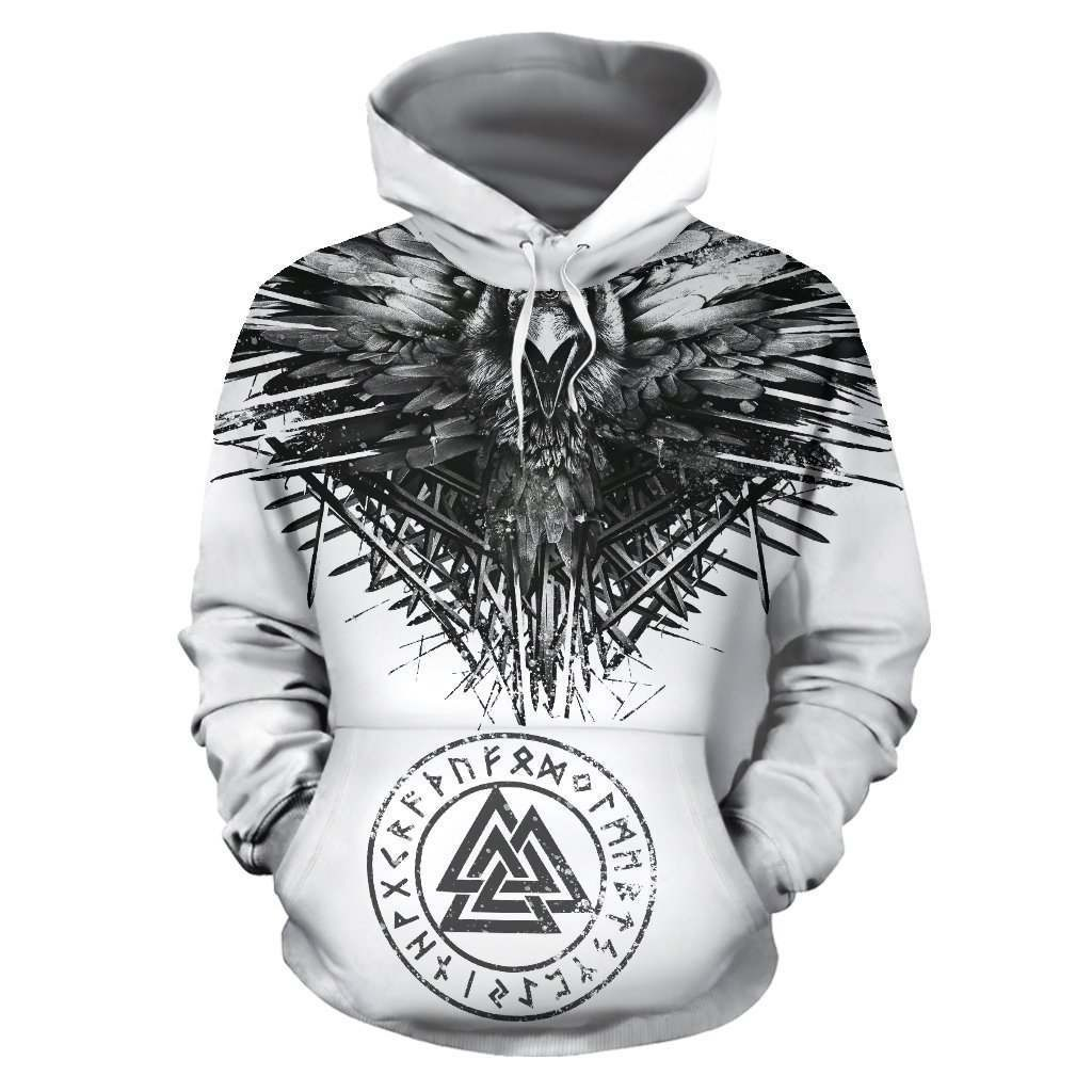 Raven and eagle viking all over printed hoodie