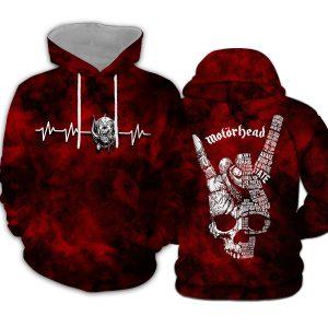 Rock hand motorhead all over printed hoodie