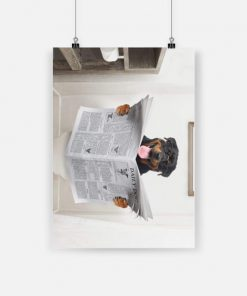 Rottweiler club funny rottweiler read newspaper in toilet poster 1