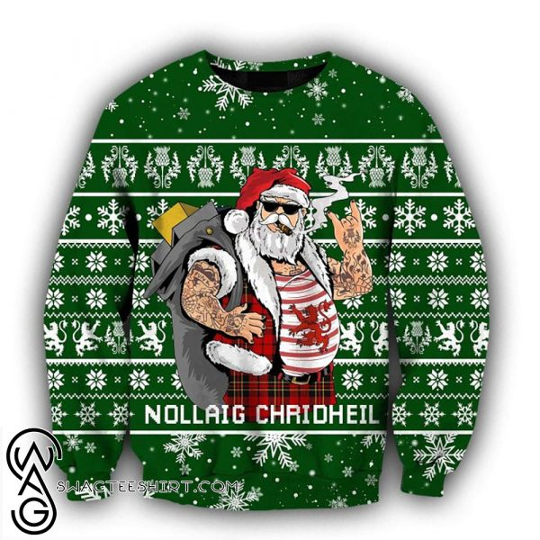 Scottish gangster santa full printing ugly christmas sweater