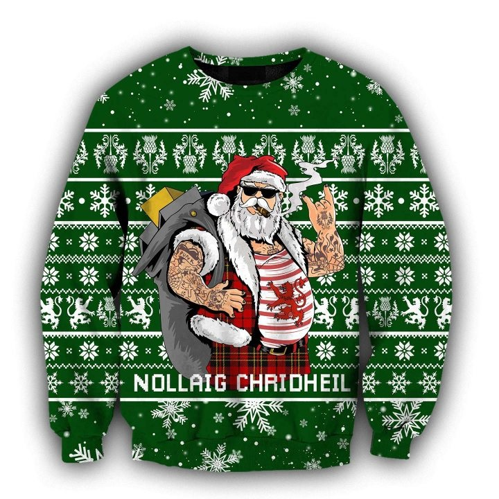 Scottish gangster santa full printing ugly christmas sweater - green