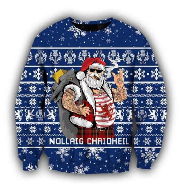 Scottish gangster santa full printing ugly christmas sweater - navy