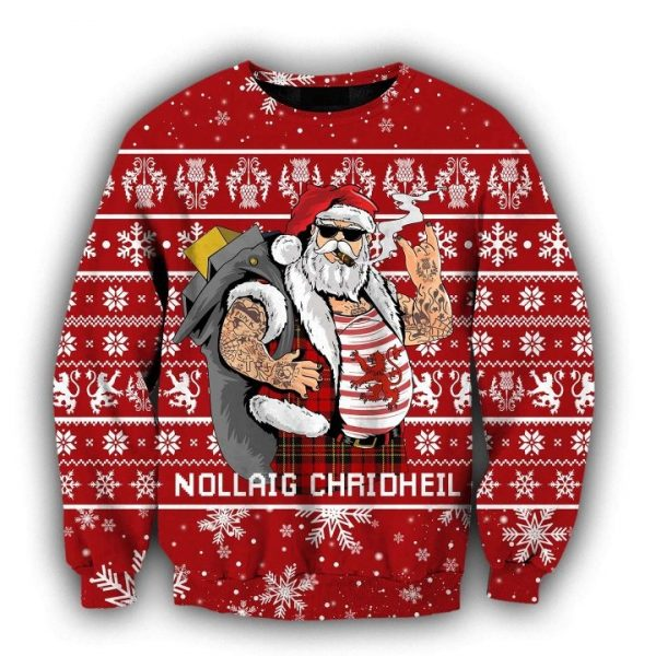 Scottish gangster santa full printing ugly christmas sweater - red