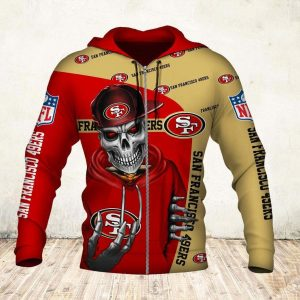 Skul san francisco 49ers all over print zip hoodie