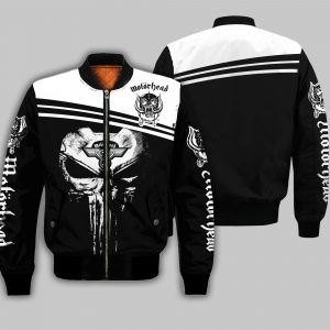 Skull motorhead rock band all over print bomber
