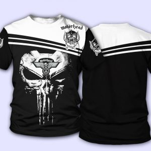 Skull motorhead rock band all over print tshirt