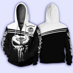 Skull motorhead rock band all over print zip hoodie