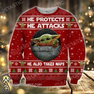 Star wars baby yoda full printing ugly christmas sweater