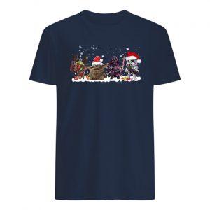 Star wars boba fett baby yoda darth vader and stormtrooper christmas mens shirt