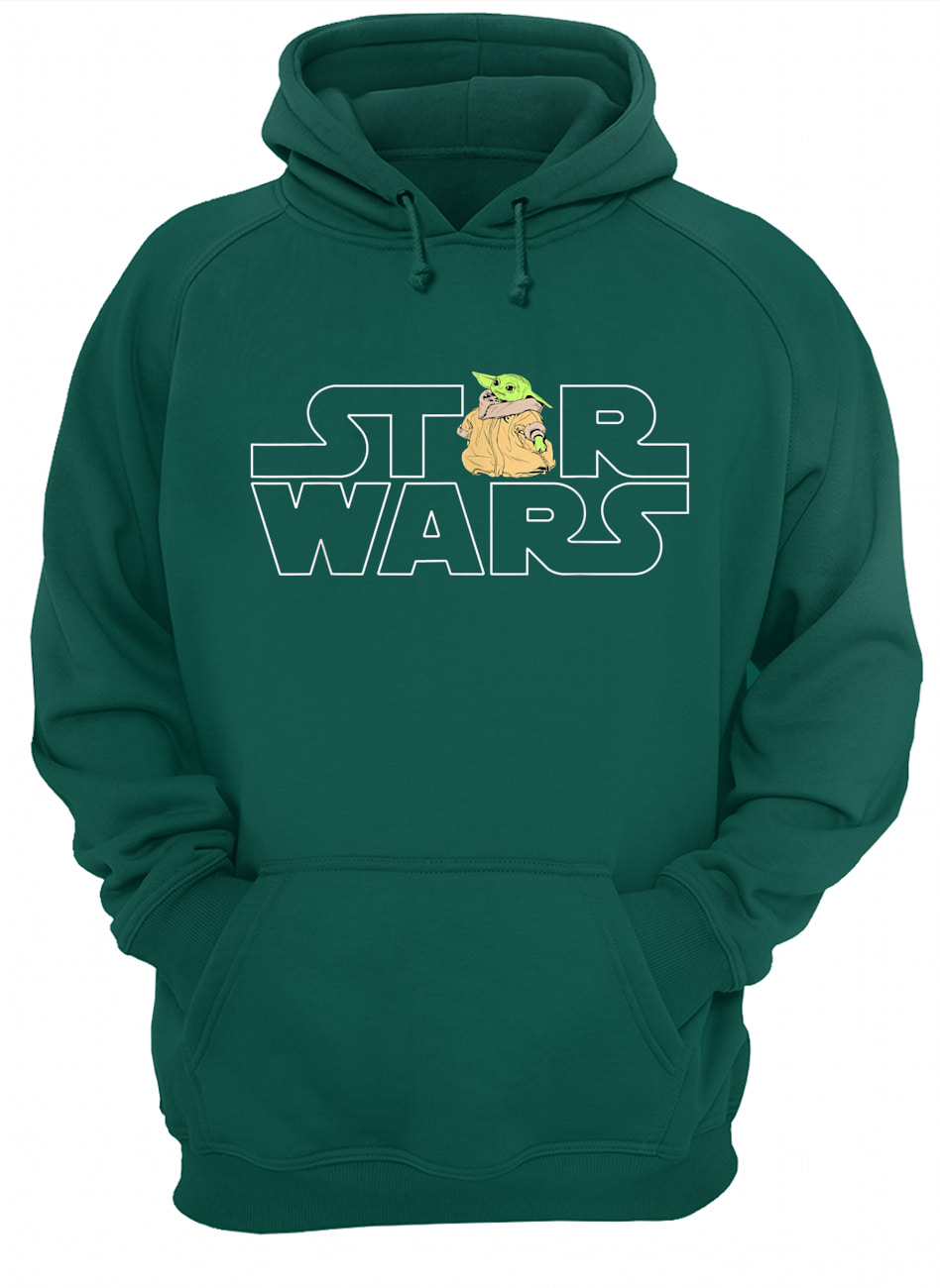 Star wars logo and the child from the mandalorian hoodie