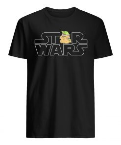 Star wars logo and the child from the mandalorian mens shirt