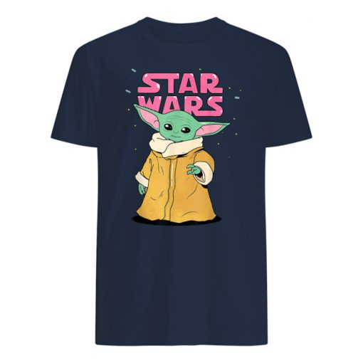 Star wars the mandalorian the child pink bubble letters mens shirt