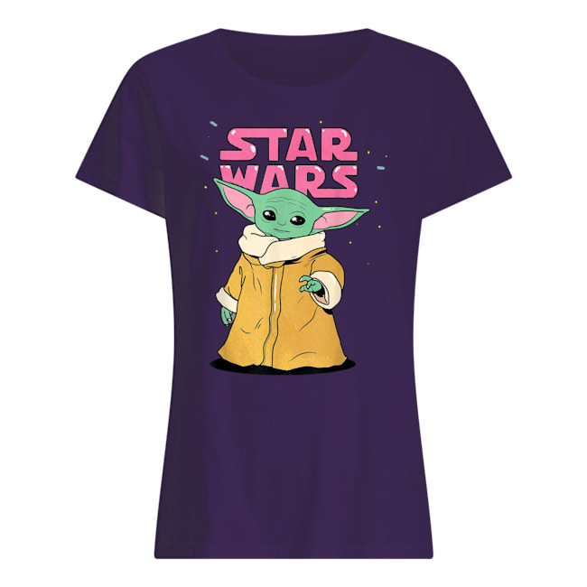 Star wars the mandalorian the child pink bubble letters womens shirt