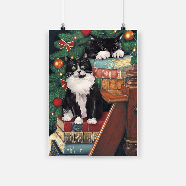 The norwegian forest cat cute black cat on christmas poster 4
