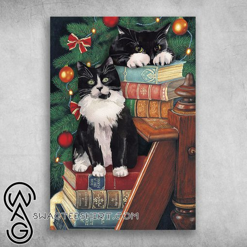 The norwegian forest cat cute black cat on christmas poster