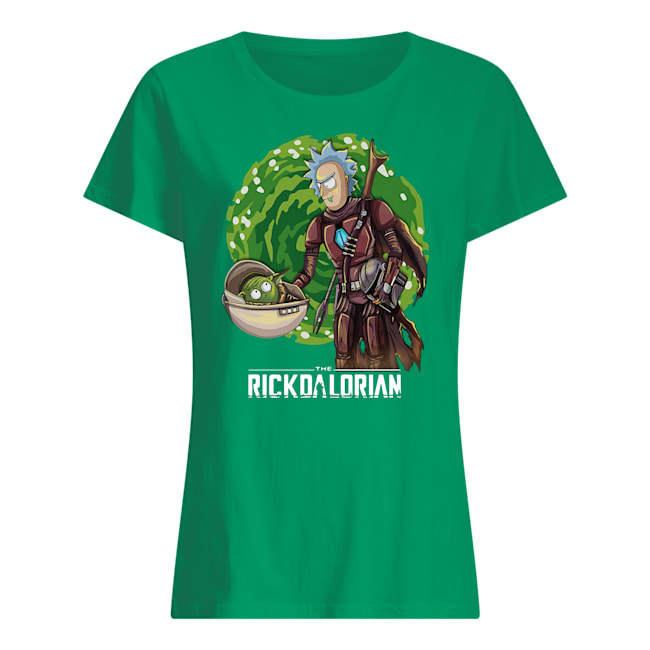 The rickdalorian baby yoda and rick womens shirt