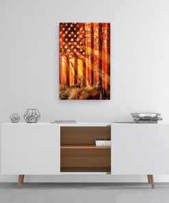US flag hunting deer and duck poster 1