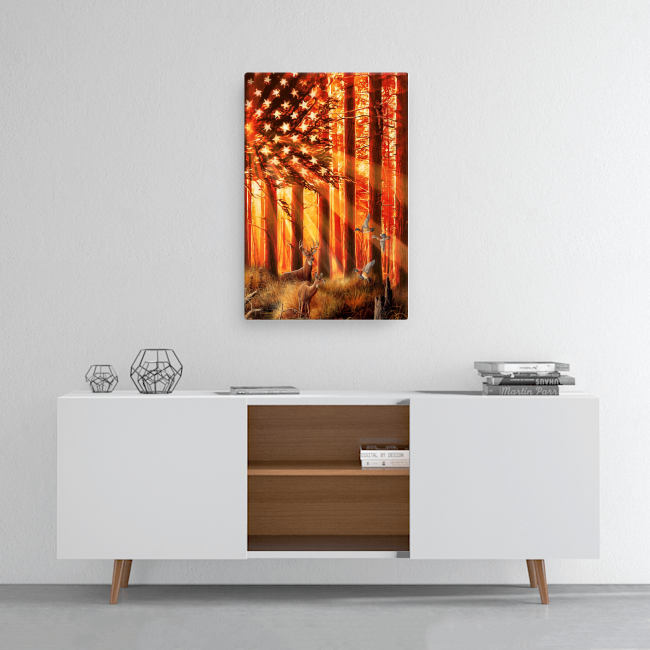 US flag hunting deer and duck poster 2
