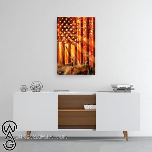 US flag hunting deer and duck poster