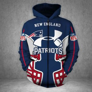 Under armour new england patriots all over printed zip hoodie