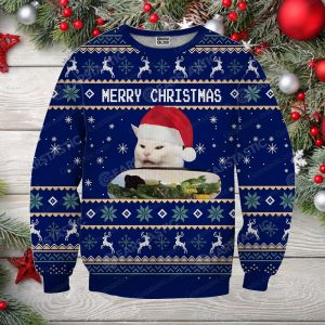 Woman yelling at cat full printing ugly christmas sweater 2
